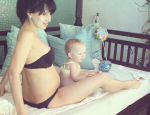 Hilaria Baldwin Posts Pregnant Poolside Pics with Daughter Carmen