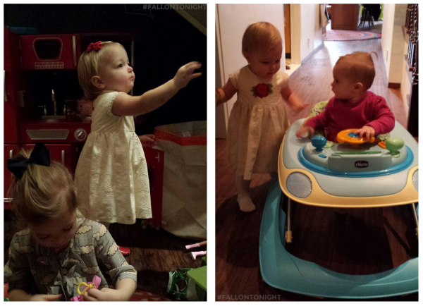 Winnie is in the white dress; Olive is wearing the Black bow: Baby Frankie is in the Bouncer