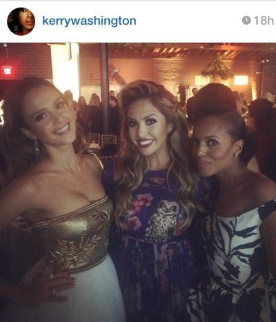 Kerry Washington posing with Jessica Alba and Kobe Bryant's wife, Vanessa