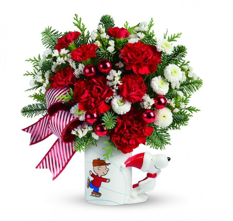 new peanuts christmas mug bouquet by teleflora